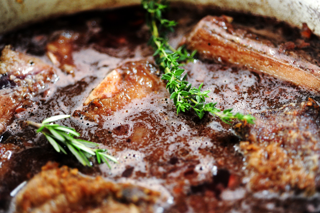 close up of shortribs in a dutch oven