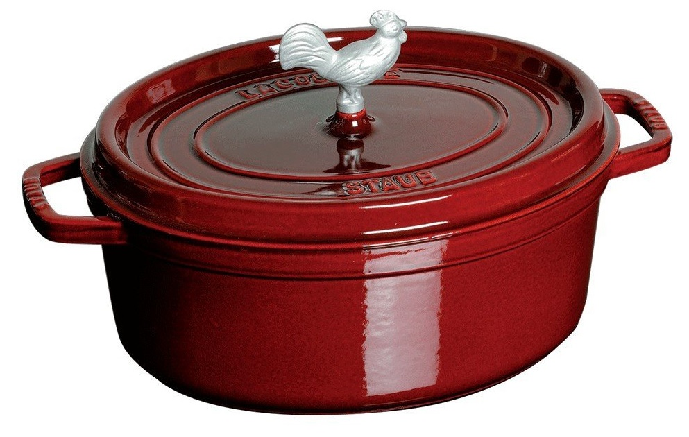 red staub cocotte with rooster knob
