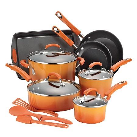 Rachael ray orange nonstick cookware set