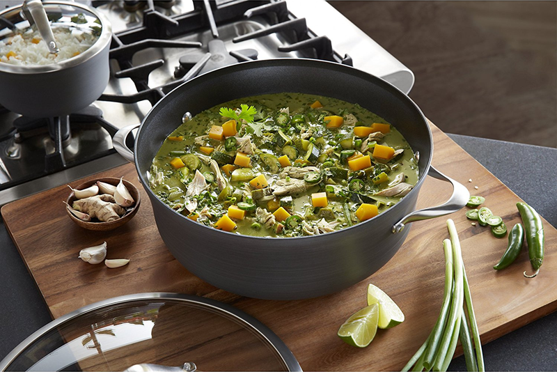 Large pot filled with soup