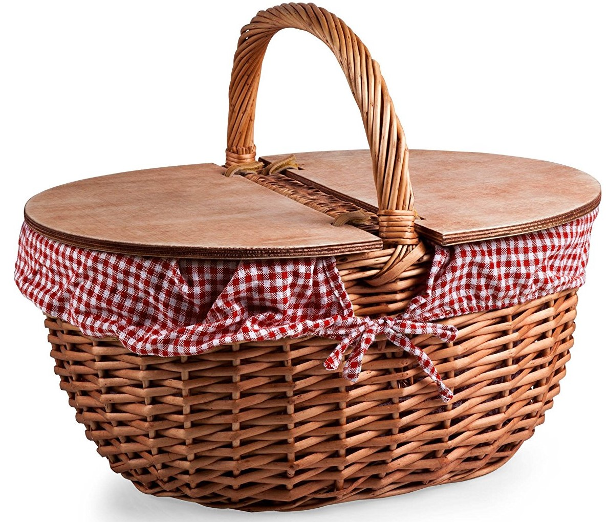 picnic time picnic basket with gingham liner