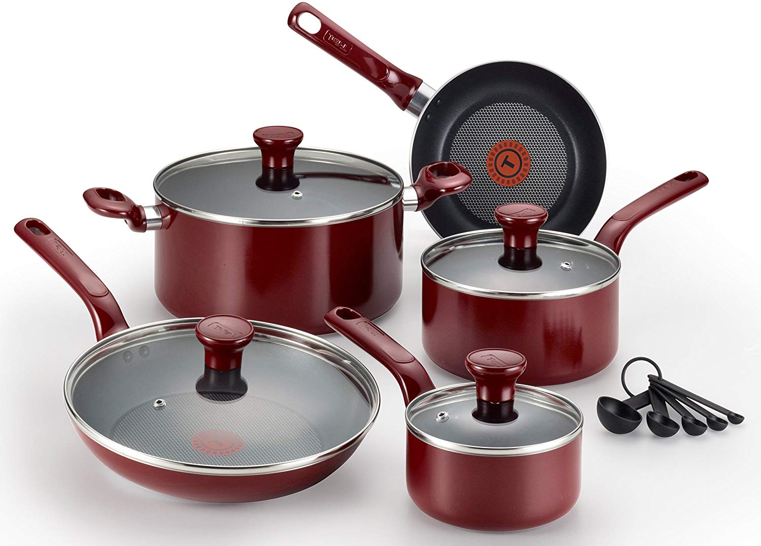 t-fal excite red nonstick cookware set