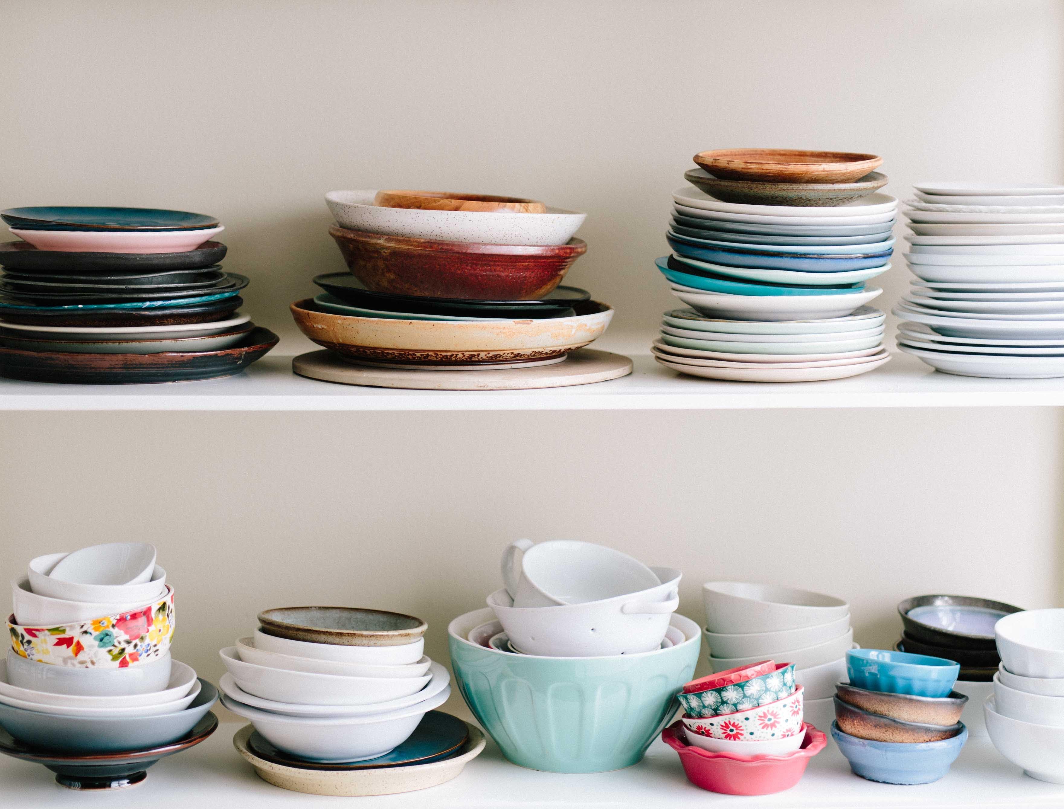 dinnerware on chelves