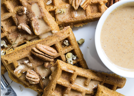 Waffles with pecans and dip