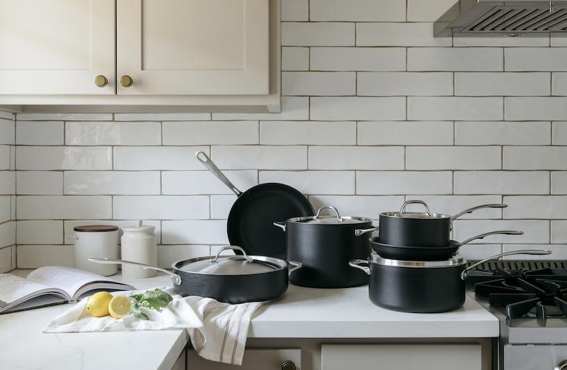 Black cooking set, 6 pieces